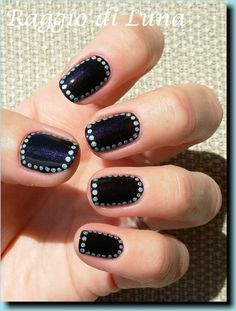 Raggio di Luna Nails: very in and easy to do. -Make a base coat -Add a color -Chose your outer color -Take a sewing pin, I prefer the flat one -Take a pencil with a full eraser -Put the pin into the eraser, make sure it's stable! -Dip your pinhead on the outer color and just do dots around the out line. It's that easy! :) This is also another great tool just for basic nail design too! -lovegrey23