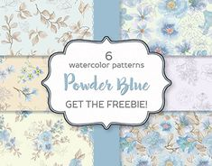 Watercolor Pattern, Watercolor Flowers, Flower Pattern Design, Graphic Patterns, Background Patterns, Blue Flowers, Design Bundles, How To Draw Hands, Card Making