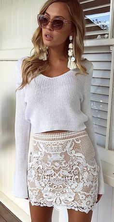#summer #outfits White Crop Knit + White Lace Skirt