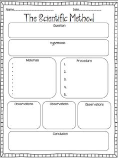 ORGANIZATION WORKSHEETS Scientific Method graphic organizer for creating their own experiments to solve their problem/question