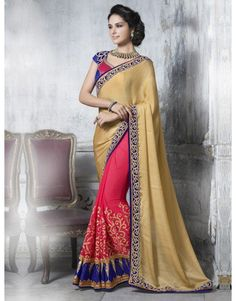 Cream and Dark Pink Samo Georgette Saree with Zari Embroidery Work