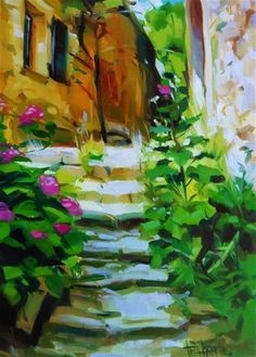 """Daily Paintworks - """"Lighted stairs"""" - Original Fine Art for Sale - © Víctor Tristante"""