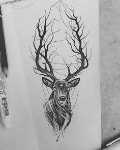 Viktor Fülöp auf Ins Buddha Tattoos, Deer Skull Tattoos, Animal Tattoos, Deer Skull Drawing, Irezumi Tattoos, Leg Tattoos, Sleeve Tattoos, Tattoos For Guys, Tatoos