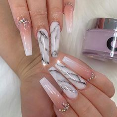 The Sum Of Sherlina's Blinding Sneaker Collection In Photos Cuffin Nails, Bling Acrylic Nails, Acrylic Nails Coffin Short, White Acrylic Nails, Best Acrylic Nails, Bling Nails, Swag Nails, Coffin Nails Ombre, Grunge Nails