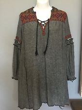 FREE PEOPLE Vintage Inspired Embroidered Shift Dress Long Sleeve - XS