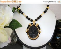 Cameo statement necklace gold. black necklace by VeroniquesJewelry