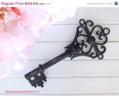 ON SALE Large Skeleton Key / Metal Wall Decor / Shabby Chic Decor / French Country / Paris Apartment / Skeleton Key Decor by Theshabbyshak on Etsy