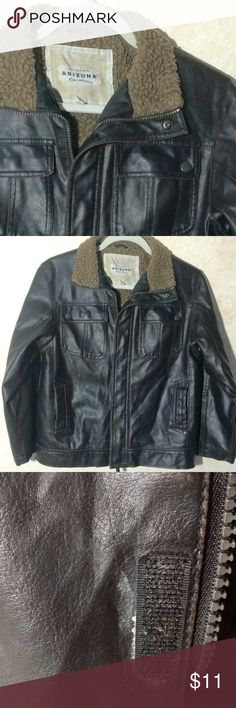 Boys Faux Leather Bomber Jacket Pre-owned in good condition.  This is a faux leather brown jacket.  The color is a little hard to see in the photos.  See photo 3 with the Velcro for the actual brown color.  It was dark in the full size shots and showed more like a black.  There is also a little wear shown in the photo next to the Velcro. Arizona Jean Company Jackets & Coats