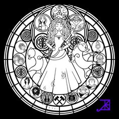 Giselle Stained Glass -line art- by Akili-Amethyst | coloring pages ...