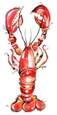 Lobster art for the kitchen Food Illustrations, Illustration Art, Lobster Art, Lobster Drawing, Lobster Tattoo, Rock Lobster, Beach Art, Art Plastique, Painting Inspiration