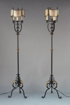Fantastic Pair Of 1920 S Torchieres Wrought Iron With Original Mica Shades 18 W X 71 H 2400