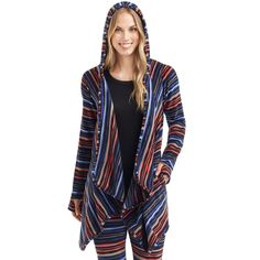 Women's Cuddl Duds Fleece Hooded Wrap Cardigan, Size: L-Xl, Multi Stripe