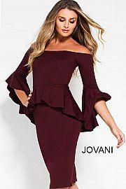 6f32339b Wine Off the Shoulder Bell Sleeve Short Dress 57290 | Dresses ...