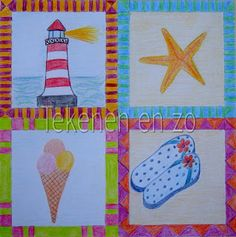You need: square drawing sheet 20 x 20 cm colour pencils Divide the sheet in four squares. Draw in every square your own summer memory! Kids Artwork, Cool Artwork, Artists For Kids, Art For Kids, Square Drawing, Summer Decoration, Beach Quilt, Drawing Sheet, Summer Memories