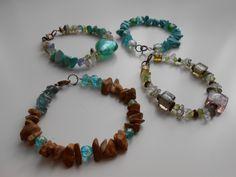 handmade armbands with murano glass & checkish crystals