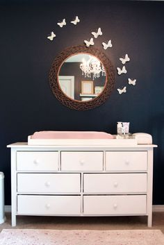 Navy Blue Girls Nursery with Butterfly Wall Decor - bold and glamorous!