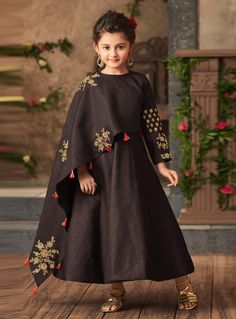 Buy Brown Satin Readymade Kids Gown 144218 online at lowest price from vast collection at Indianclothstore.com.