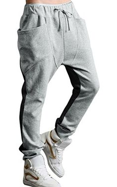 Allegra K Men Drop Crotch Funnel Pockets Drawstring Sweatpants W28/30 Grey Black ❤ uxcell