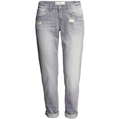 H&M Boyfriend Jeans (3.870 HUF) ❤ liked on Polyvore featuring jeans, pants, grey, pantalones, h&m boyfriend jeans, 5 pocket jeans, low rise jeans, boyfriend jeans and grey jeans