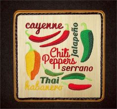 This Chili Pepper Embroidery Balsa Wood Art, Mexican Kitchen Decorcombines the warmth of wood with the raised texture of 10 different thread colors and 24,605 stitches. The design was machine embroidered into a sheet of balsa wood, then cut and mounted on an oak stained 6-3/4 wide x 1 plaque. The black leather braided trim was added before a clear protective, non-yellowing acrylic matte finish was applied. A brass hanger is attached to the backside making it ready for hanging.    Balsa W...