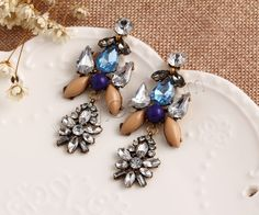 Fashion Statement Earring Zinc Alloy with Crystal Resin stainless steel post pin antique gold color plated faceted with rhinestone nickel lead cadmium free 68x29mm - Milky Way Jewelry