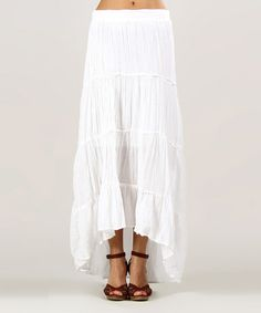 This White Hi-Low Skirt by Kushi by Jasko is perfect! #zulilyfinds $24.99, regular 40.00