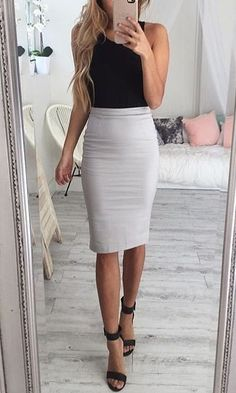 Simple and chic just black too and pencil skirt and you already became a stylish business lady