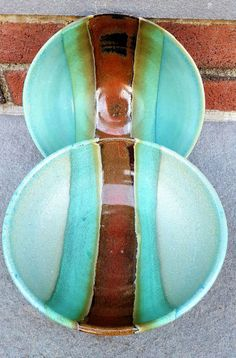 Pottery Pasta Bowl, Pottery Salad Bowl, Pottery Serving Bowl, Brown Stripe Green Turquoise Teal