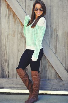 Lock Out The Cold Sweater: Mint Green