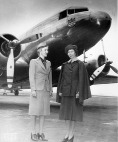 Ellen Church (L) became the world's first stewardess on May 15, 1930. United Airlines.