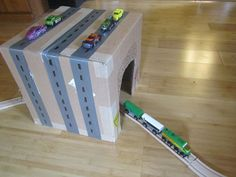 Recycled Box Train Station out of Cardboard!