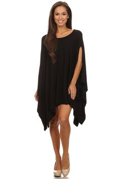 Loose fit Poncho style asymmetric hem tunic top.  Fabric Content: 65% Rayon, 35% ViscoseMade in: USA | Shop this product here: spree.to/yhs | Shop all of our products at http://spreesy.com/ipinshopper    | Pinterest selling powered by Spreesy.com
