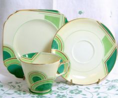 Art Deco Geometric Trio, Handpainted Grosvenor China Kelly Green, Mint and Cream Cup Saucer Teaplate 1933. £25.00, via Etsy.