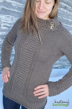 This is a knitting pattern for a seamless sweater 'Adult Ella Sweater.' This beautiful knitted sweater is a great knit, and a beautiful piece. This knitting pattern is available in sizes XXS - 4XL. Click through to get your knitted sweater pattern from KnotEnufKnitting.
