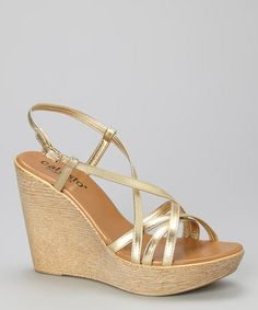 Another great find on #zulily! Gold Patent Esye Wedge by CALLISTO of CALIFORNIA #zulilyfinds