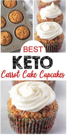Keto Cupcakes you DO NOT want to pass up! These carrot cake keto cupcakes are so. Keto Cupcakes you DO NOT want to pass up! These carrot cake keto cupcakes are so delicious. EASY keto cupcakes w/ fr Cupcakes Keto, Keto Cake, Keto Cheesecake, Sugar Free Cupcakes, Healthy Cupcakes, Healthy Cupcake Recipes, Low Carb Carrot Cake, Carrot Cake Muffins, Carrot Cake Cupcakes