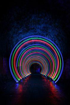 tunnel of neon lights Neon Aesthetic, Rainbow Aesthetic, Neon Party, Neon Lights Party, Neon Glow, Neon Colors, Fluorescent Colors, Light Installation, Neon Lighting