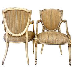 Antique French Shield-Back Chairs, Pair French Dining Chairs, Kings Lane, Dining Rooms, Vintage Furniture, French Antiques, Wicker, Kitchens, Home Decor, Decoration Home