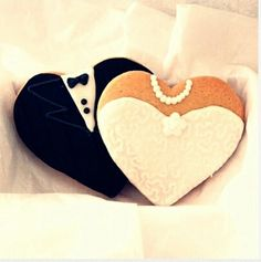 Bride and Groom heart cookies! Perfect for a shower!