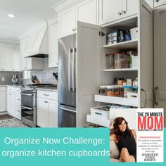 We are back again with another week of the Organize Now Challenge!!! This week we are going to organize kitchen cupboards! Would you be embarrassed if I looked into your kitchen cupboards? If so, this is the week for you because we can fix that. I want you to be proud of your cupboards. Kitchen Cupboard Organization, Kitchen Cupboards, Kitchen Appliances, Kitchens, Organized Mom, French Door Refrigerator, Organizer, Bathroom Medicine Cabinet, Challenges