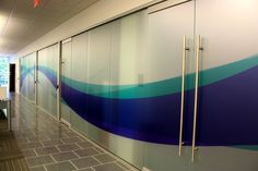 Frosted Windows with a swoosh Office Branding
