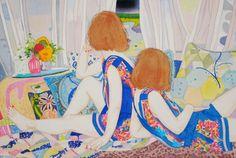 悪い夢の中で  アクリル・綿布・パネル  530 x 455