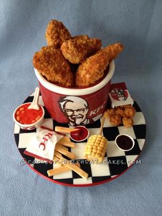 Coolest KFC Bucket of Chicken and Sides Cake... This website is the Pinterest of birthday cake ideas