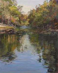 """""""Sunlight on the Springs"""" - Original Fine Art for Sale - © Elaine Hahn  10"""" x 8"""" - Oil on linen board.  Painted from a scene at Wikiva Springs Florida. Hope you like it!  If you are interested in this painting call or email me. 727-945-8115 elaine@elainehahnart.com"""