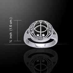 Chalice Well Ring .925 Sterling Silver Wiccan Pagan KING ARTHUR Glastonbury Tor Druid Ring