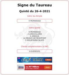Quarté pour le signe du Taureau et Tiercé pour les signe des Gémeaux. Arrivée du Quinté 6 - 9 - 2 - 8 - 15 ce Lundi 26/04/2021 dans le PRIX DE CHANTILLY CAPITALE DU CHEVAL à CHANTILLY. Blues, Signs, Horse, Shop Signs, Sign