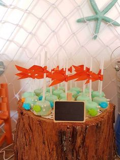What cute fishing inspired cake pops at this adorable 1st Birthday Birthday Party! See more party ideas and share yours at CatchMyParty.com