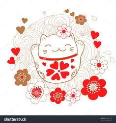 Cute Card With White Cat - A Talisman, Bringing Luck, Maneki Neko . Maneki Neko, Neko Cat, Kawaii Cat, Oriental, Cat Wallpaper, Iphone Wallpaper, Lucky Cat Tattoo, Japanese Cat, Illustration Sketches