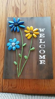 Painted rocks welcome sign. Vinegar and steel wool stain - Danielle Murphy - - Painted rocks welcome sign. Vinegar and steel wool stain - Danielle Murphy Stone Crafts, Rock Crafts, Diy Home Crafts, Fun Crafts, Crafts For Kids, Arts And Crafts, Painted Rocks, Hand Painted, Rock And Pebbles