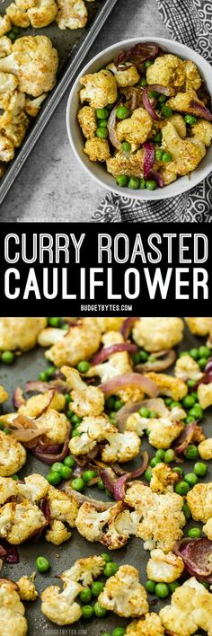 Add big flavor to plain cauliflower with this simple yet delicious Curry Roasted Cauliflower recipe. @budgetbytes